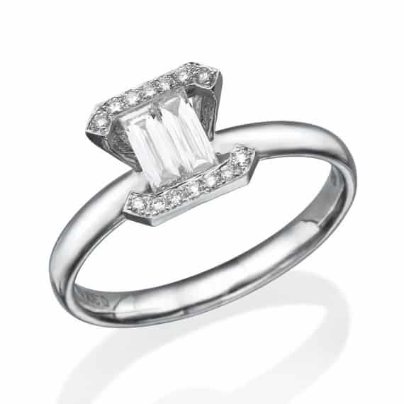 womens unique baguette Diamond engagement Ring