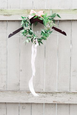 wreath on custom wire hanger