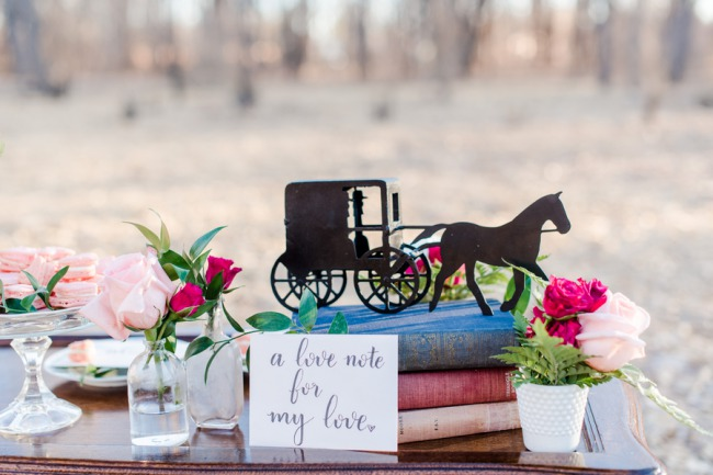 Amish carriage decor on old books