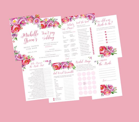 Bridal Shower Games Printables, 8 Fun Floral Designs