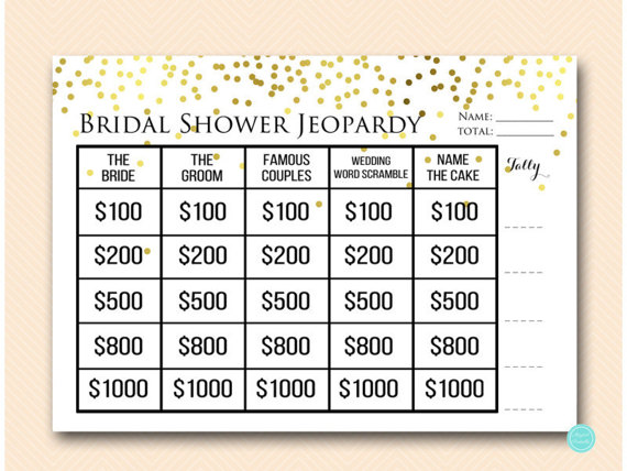 Bridal shower Jeopardy party game