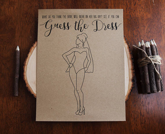 Guess the Dress Printable Bridal Shower Game