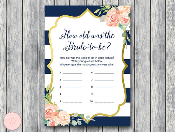 How old was the Bride to be Bridal Shower game