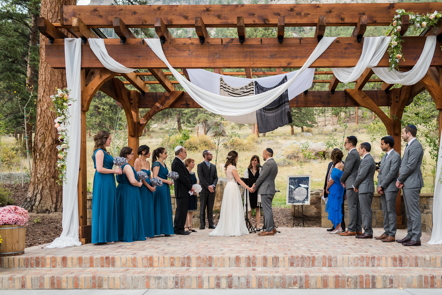 Jewish real wedding with ketubah displayed