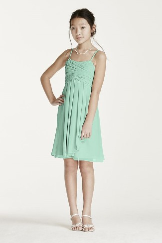 Jr Bridesmaid Short chiffon dress with cascade ruffle