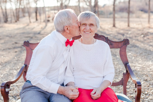 Kissing his girl of 64 years