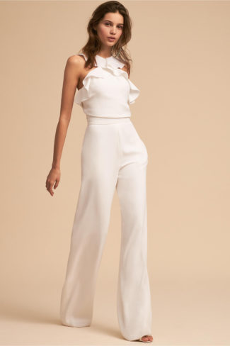 Rehearsal dinner white Fremont Jumpsuit by BHLDN