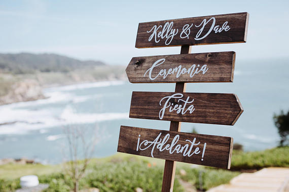 wooden wedding direction sign