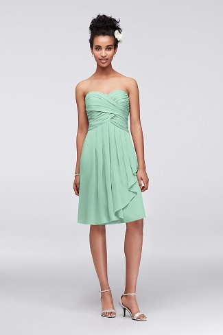 Short Crinkle Chiffon Bridesmaid Dress with Front Cascade