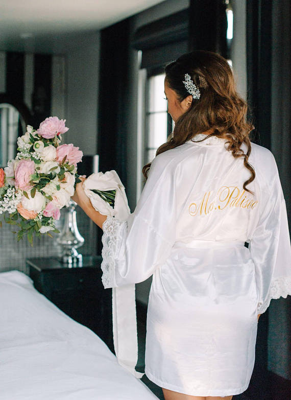 Satin Bridal Robe with Surname