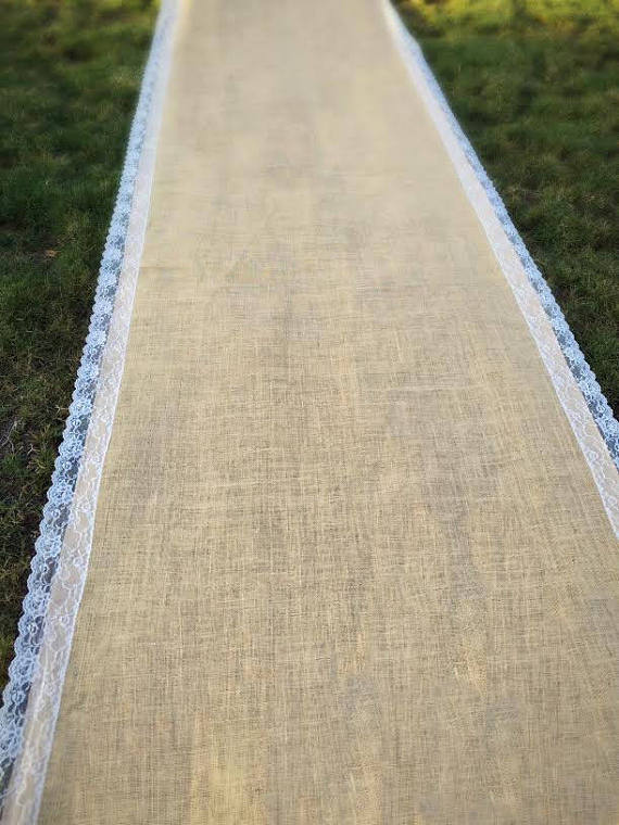 burlap aisle runner for ceremony