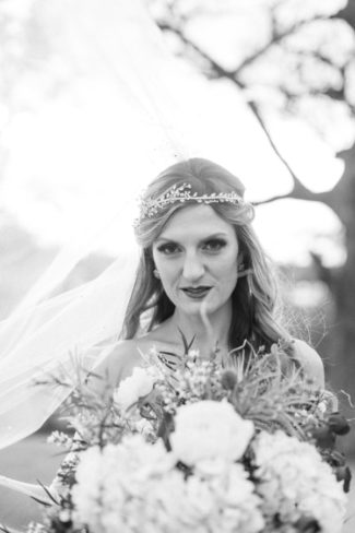 black and white pic of bride