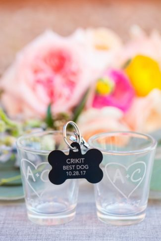 bone shaped tag with words best dog for wedding