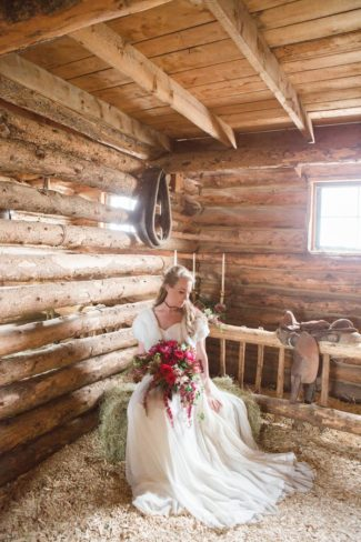 bride in barn at Strawberry Creek Ranch 9N
