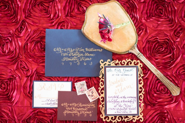 calligraphy stationery on red cloth