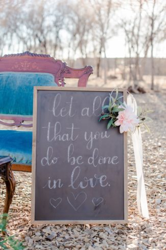 chalkboard sign with love note written