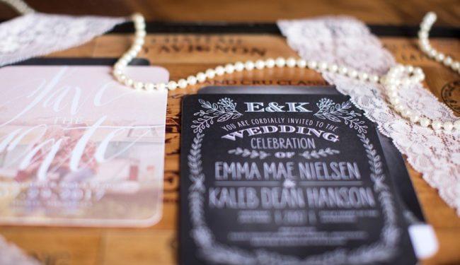 chalkboard wedding invite design