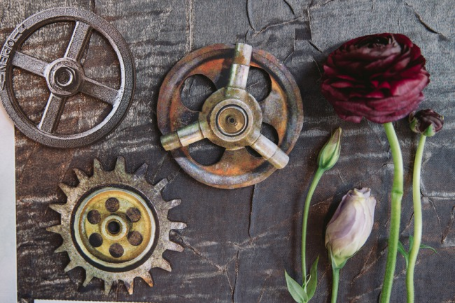 cogs and flowers