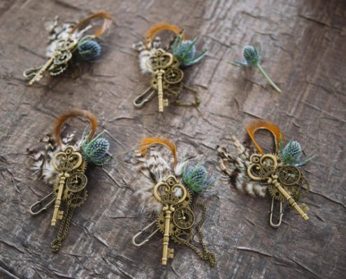 cogs and key steampunk boutonniere