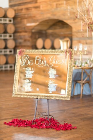 framed mirror on easel in winery