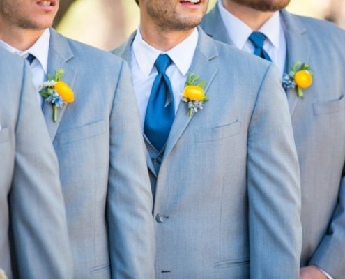 groomsmen in gray suits