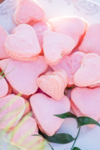 heart shaped pink macaroons