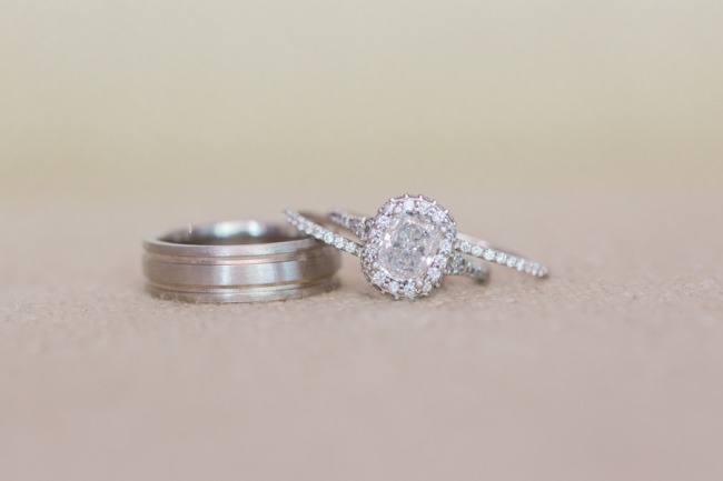 his wedding band and engagement ring for her