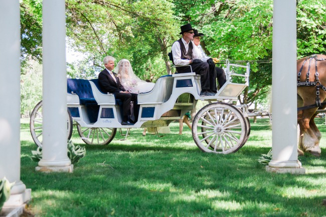 horse drawn carriage out front