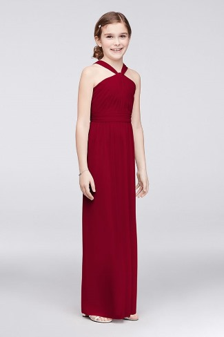 junior bridesmaid Y neck long dress