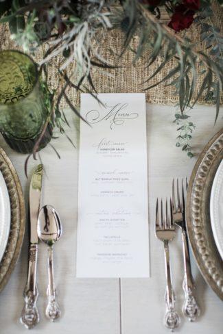 menu card on table
