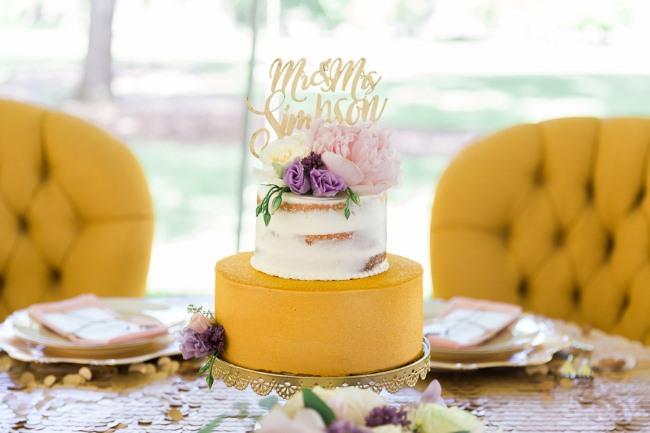 mustard color cake on platter