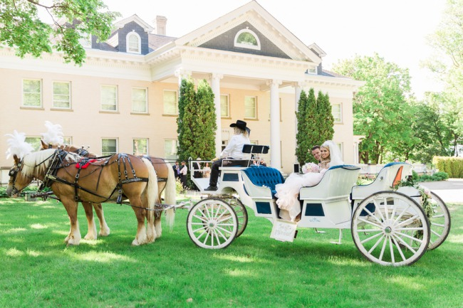 newlyweds in horse drawn carriage