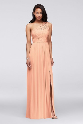 one shoulder lace bridesmaid dress