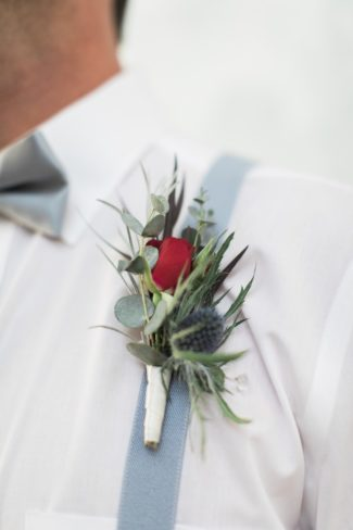 red rose blue thistle boutonniere
