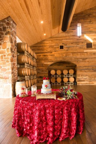 red tablecloth for cake table