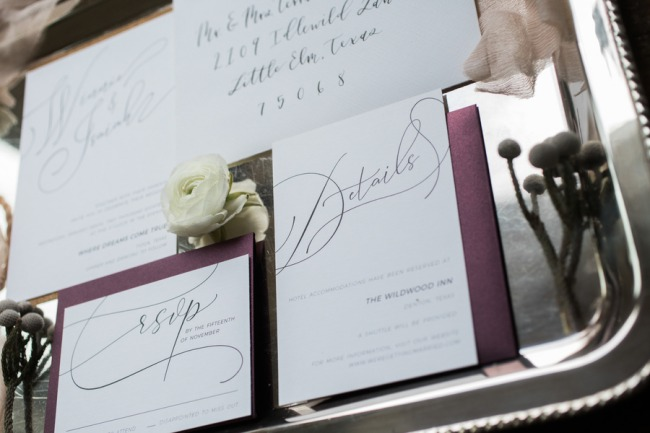 stationery on silver tray