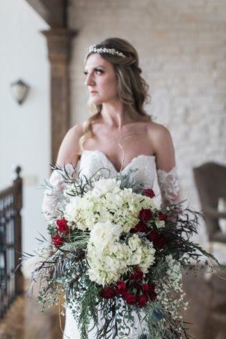 styled bride with bouquet