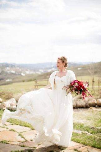 styled bride's dress blowing in wind