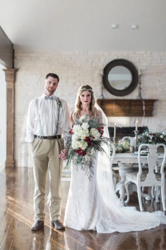styled couple standing side by side
