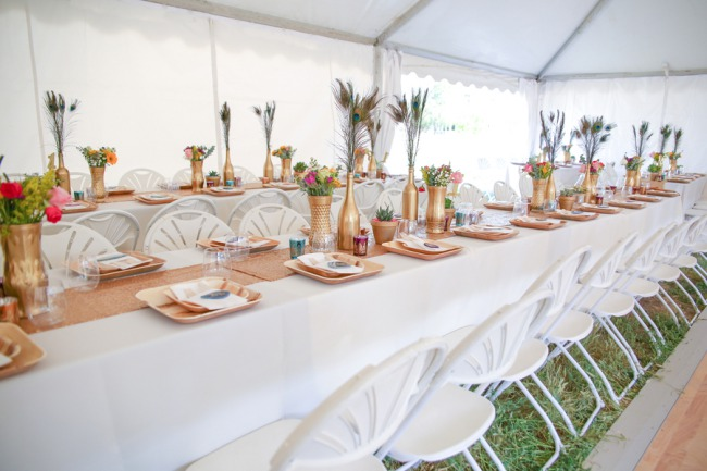 wedding tent with tables