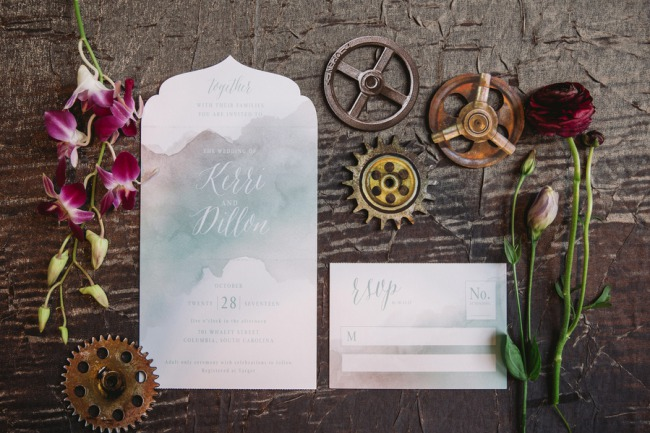 watercolor design for steampunk wedding