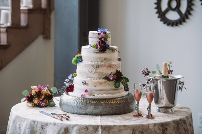 wedding cake on industrial stand