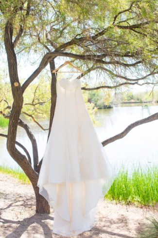 wedding gown hanging from tree