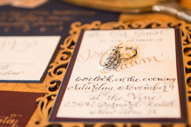 wedding rings on beauty and the beast invite