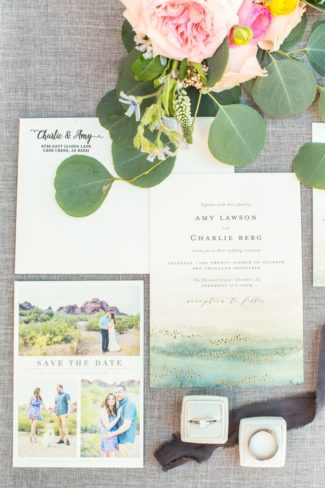 whimsical watercolor and photo stationery