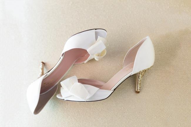 white Kate Spade bridal heels