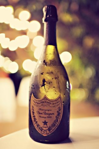 Dom Perignon champagne bottle for wedding reception