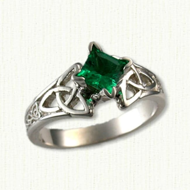 4kt White Gold Celtic Marishelle Style Emerald Engagement Ring