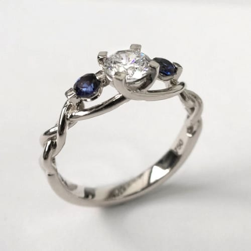 Braided Diamond and Sapphire Engagement Ring
