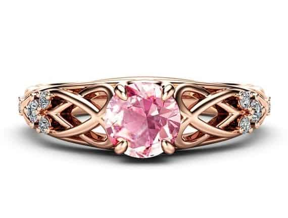 Celtic Pink Moissanite Engagement Ring 14K Rose Gold
